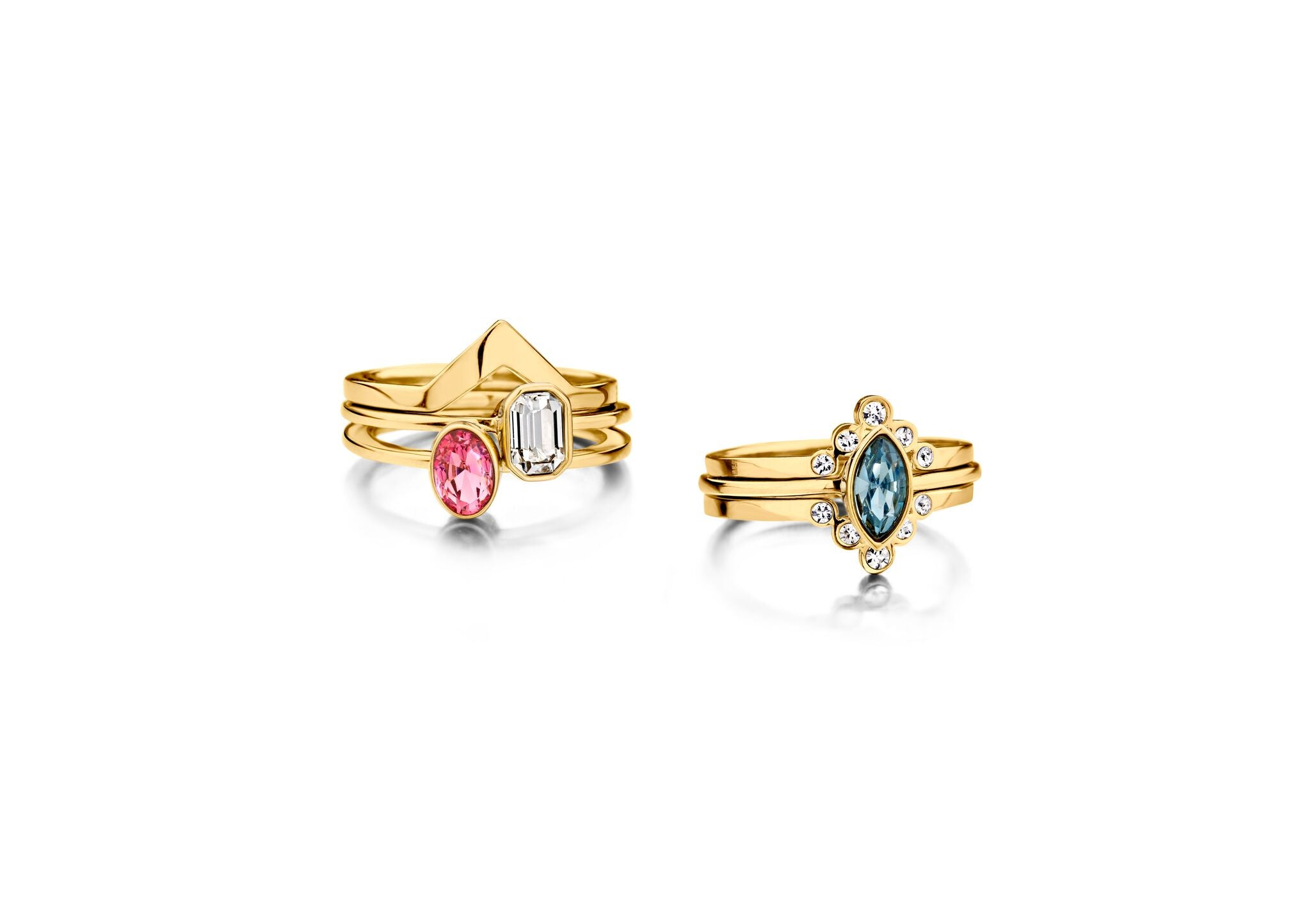 Melano - Ring Friends Pointed Crystal Goud - Luxedy