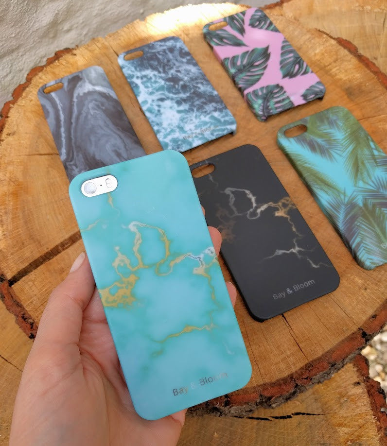 Bay & Bloom iPhone cover - Blue & Gold Marble (iPhone 5 & 6) - Luxedy