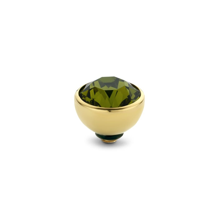 Melano - Steen Twisted 6mm Olive Green (goud - zilver)
