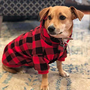 Plaid Dog Hoodie Pet Clothes Sweaters with Hat Fits For All Breeds 5 Colors