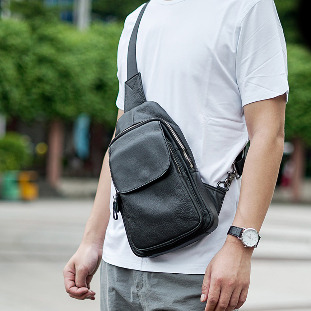 Men Casual Chest Bag Genuine Cow Leather Fashion 7.9 Inch Ipad High Quality