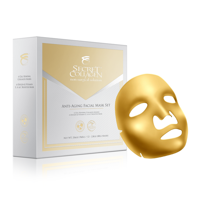 Multi Vitamin E, A & C Facial Golden Mask 12 Sleeves - Secret Collagen