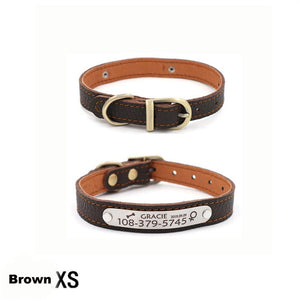 Customizable Genuine Leather Dog Collars For Small Pets