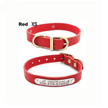 Load image into Gallery viewer, Customizable Genuine Leather Dog Collars For Small Pets