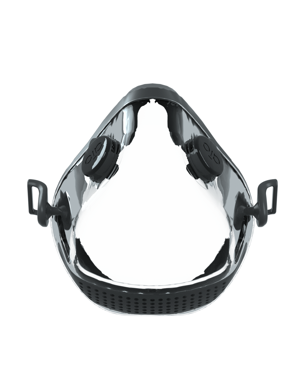 AIO Mask Basic - black front view with valves - transparent mouth and nose cover