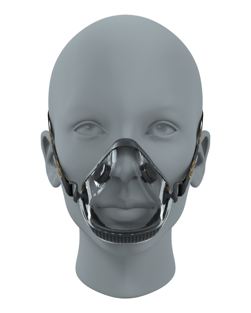 Front view on a face of the black AIO Mask Basic with valves
