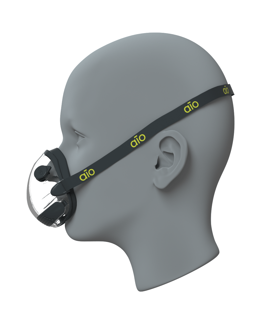 Side view on a face of the black AIO Mask Basic with valves