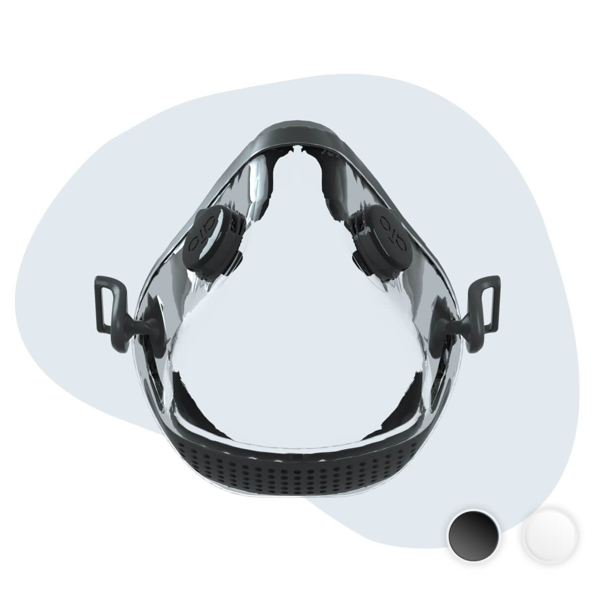 AIO Mask Basic - black & grey front view with valves - transparent mouth and nose cover