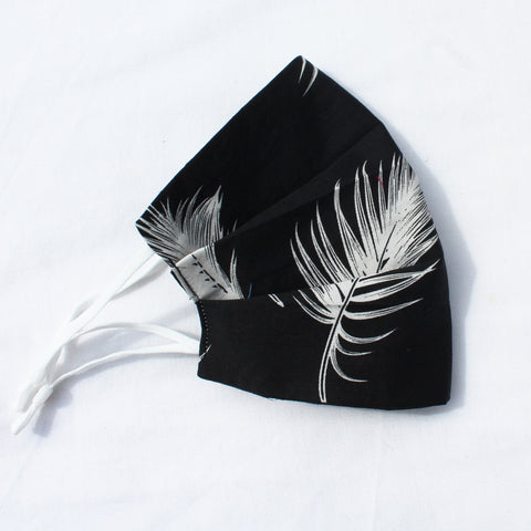 Black Feather Pleated Face Covering