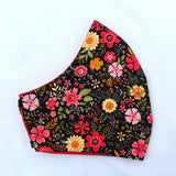 Black Floral Curved Face Covering