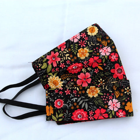 Black Floral Pleated Face Covering