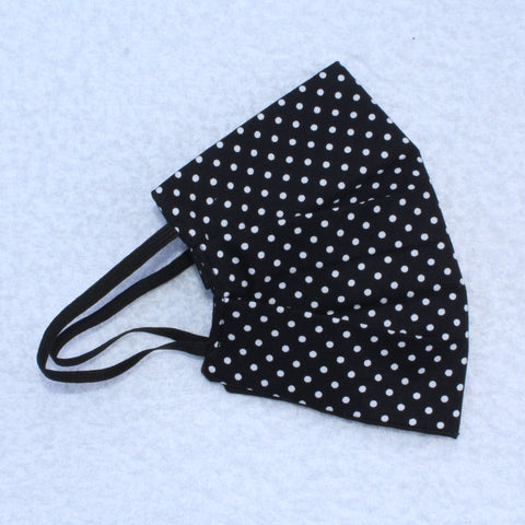 Black with White Dots Pleated Face Covering