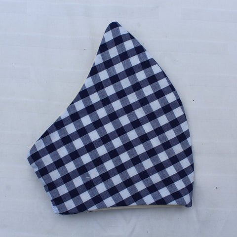 Blue Gingham Curved Face Covering