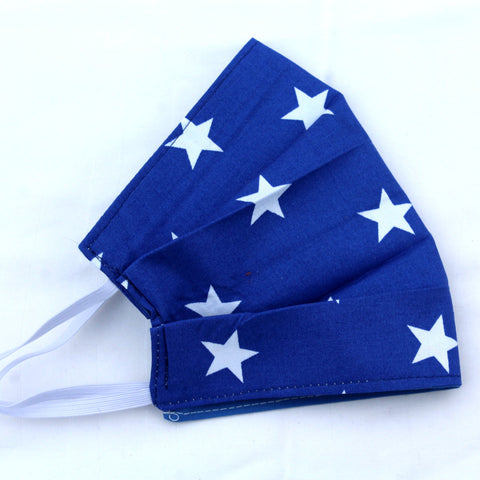 Blue Stars Pleated Face Covering