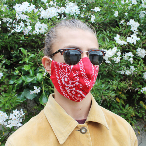 Red Bandana Face Covering