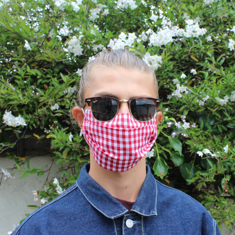 Red Gingham Pleated Face Covering