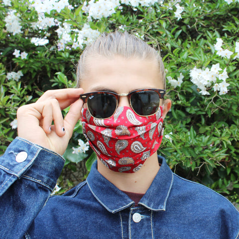 Red Paisley Pleated Face Covering