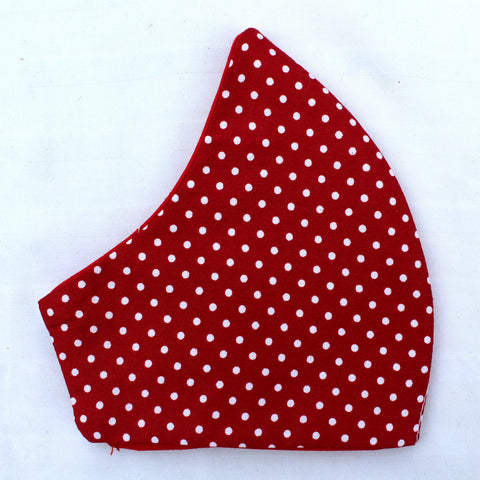 Red White Dots Curved Face Covering