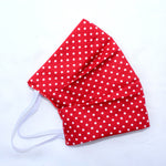 Red White Dots Pleated Face Covering