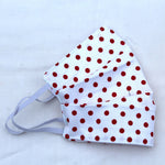 White Red Dots Pleated Face Covering