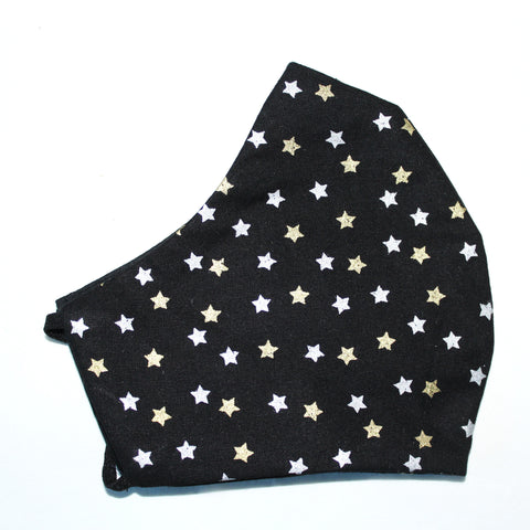 Black Silver & Gold Stars Face Covering