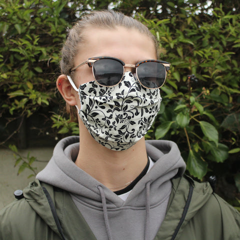 Cream Black Floral Face Covering