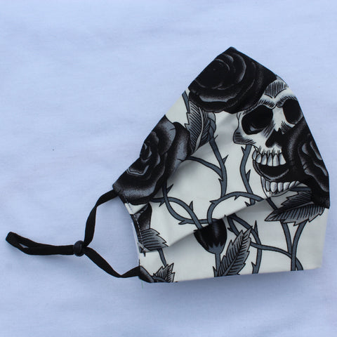 Grey Skulls Pleated Face Covering