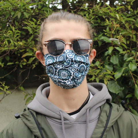 Pale Blue Paisley Face Covering
