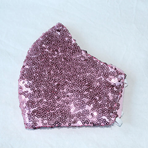 Pink Sequin Curved Face Covering