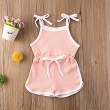 Load image into Gallery viewer, Hazel Pink Tie Drawstring Playsuit Romper