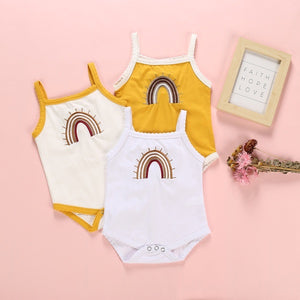 Rainbow Baby Cream Embroidered Bodysuit