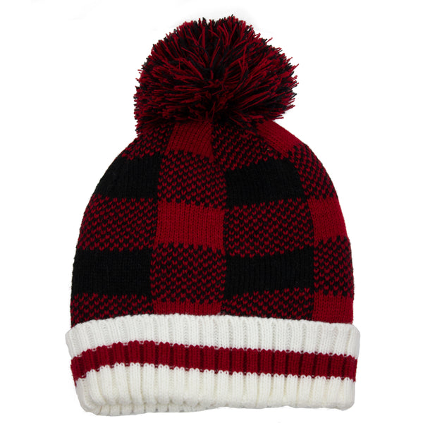 Buffalo Check Pompom Toque