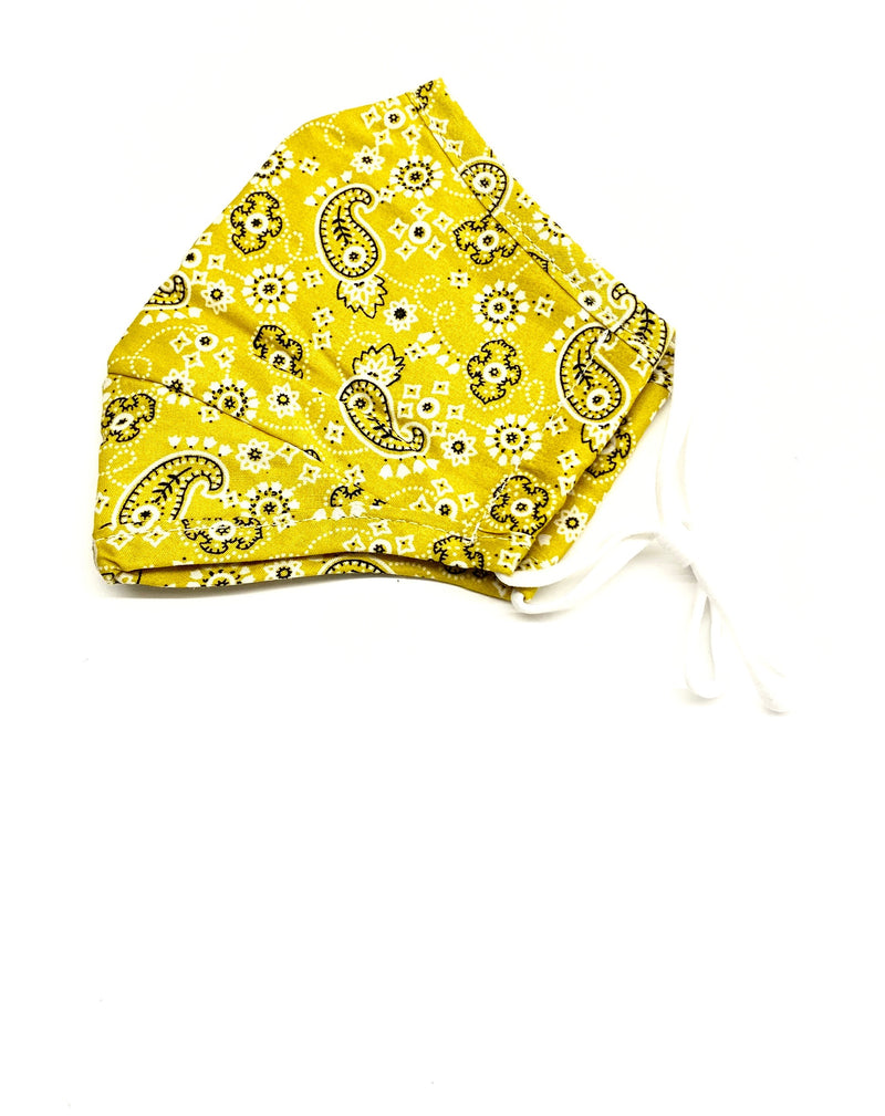 Face Mask - Yellow Paisley