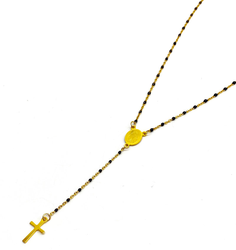 Rosary Necklace - Gold/Midnight