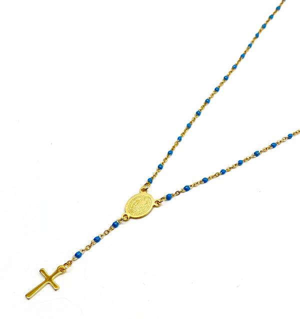 Rosary Necklace - Gold/Sky