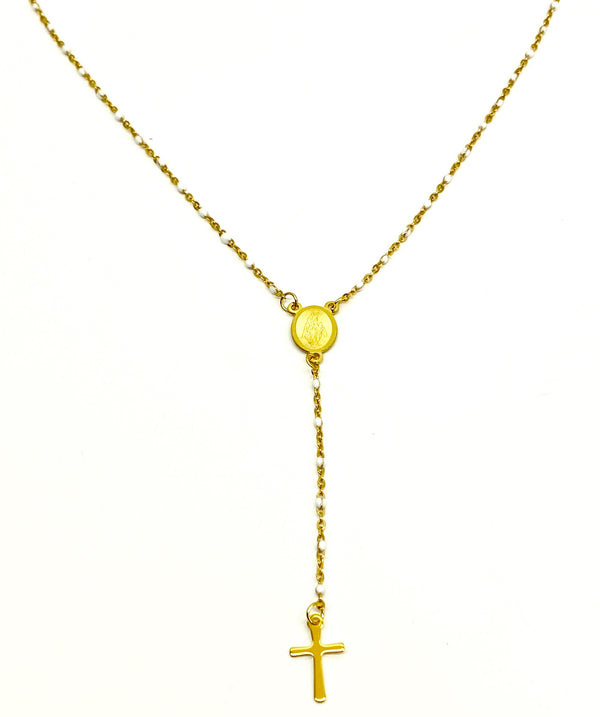 Rosary  Necklace - Gold/Ivory
