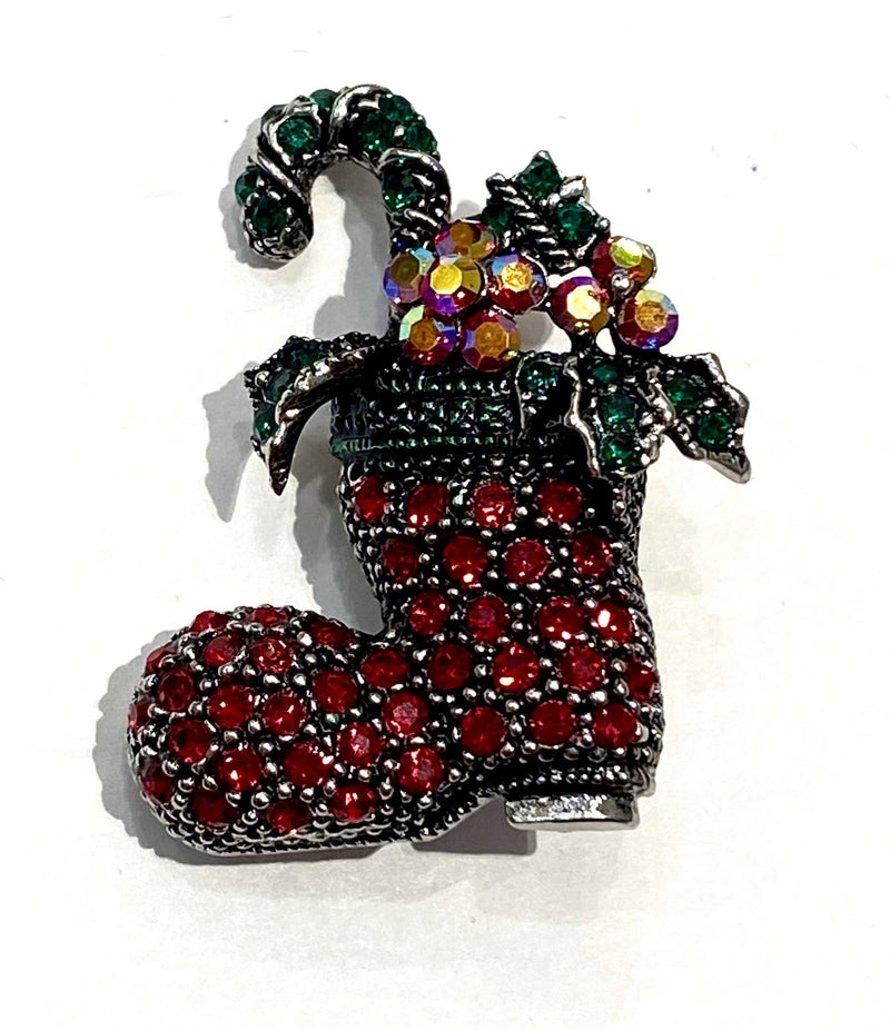 Christmas Brooch - Red Stocking
