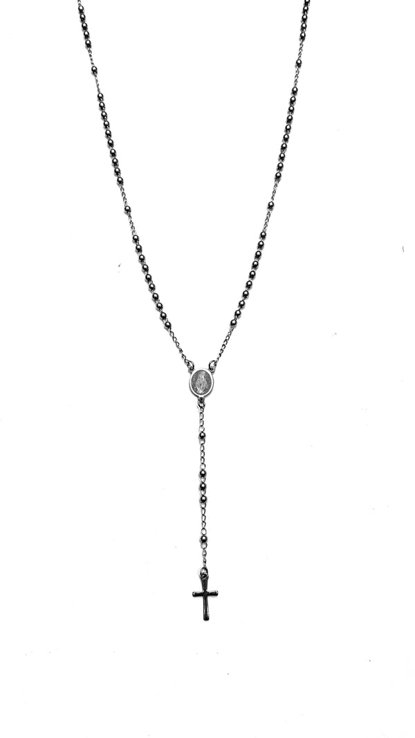 Rosary  Necklace - Silver