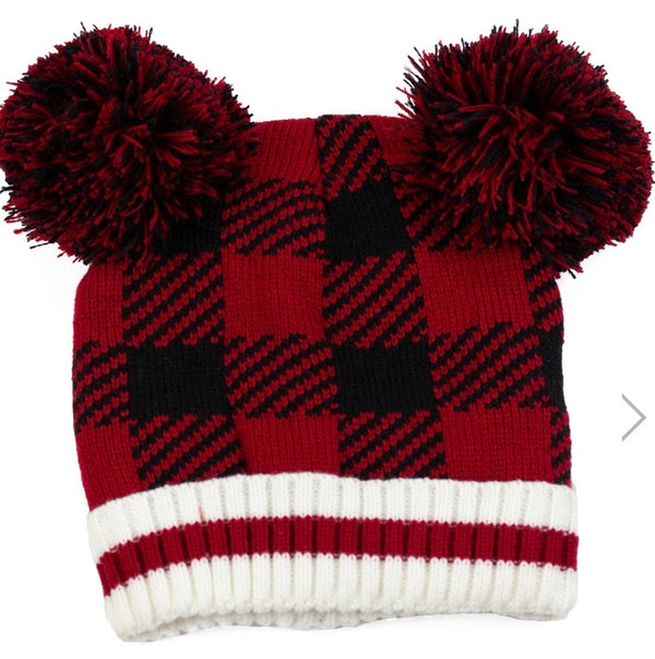Buffalo Check Kids Pompom Toque