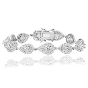 Double Halo Pear Tennis Bracelet