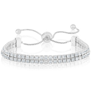 Adjustable 2 Row Tennis Bracelet