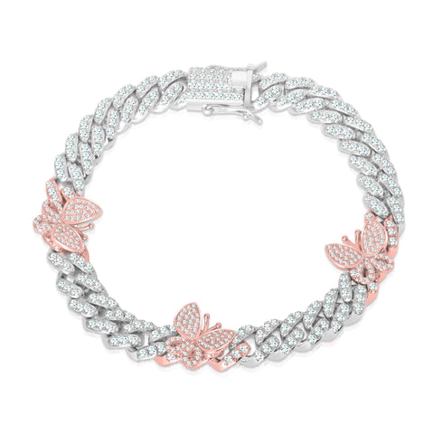 Silver with Rose Butterfly Cuban Anklet
