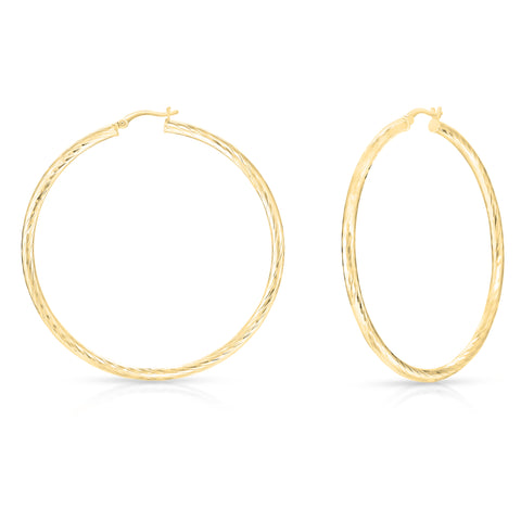 Thin Textured Twist Hoops