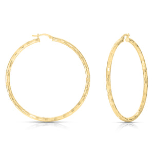 Diamond Cut Gold Hoops