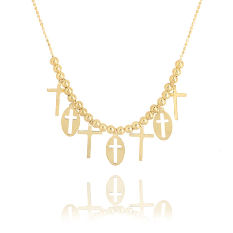 Cross Charm Gold Bead Necklace