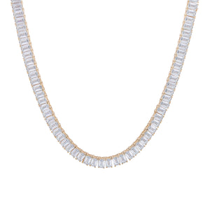 Emerald Cut Tennis Necklace