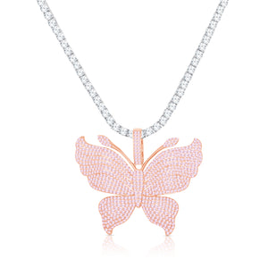 ICY BUTTERFLY TENNIS NECKLACE