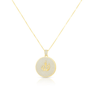 Pave Allah Disc Necklace