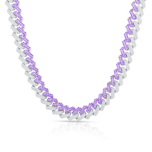 Purple Detail CZ Curb Chain