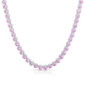 Pink Round Halo Tennis Necklace